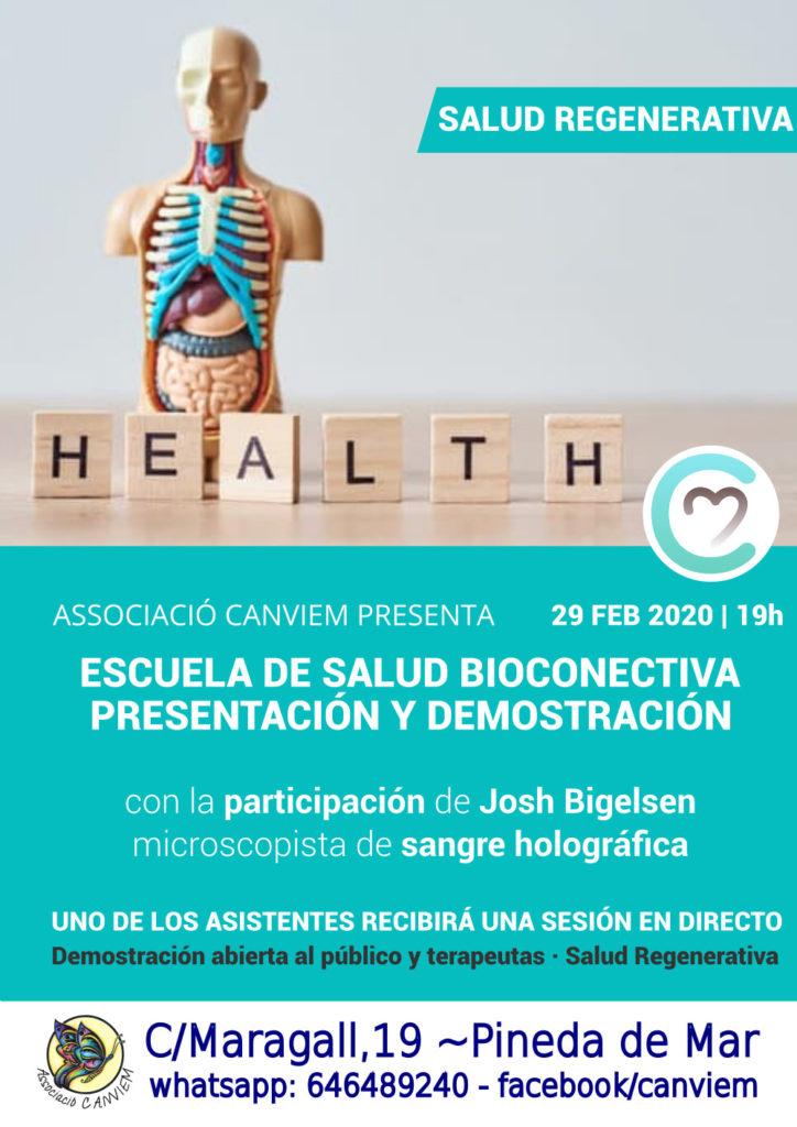 cartel de promoción de la presentación de la escuela de salud by bioconectiva
